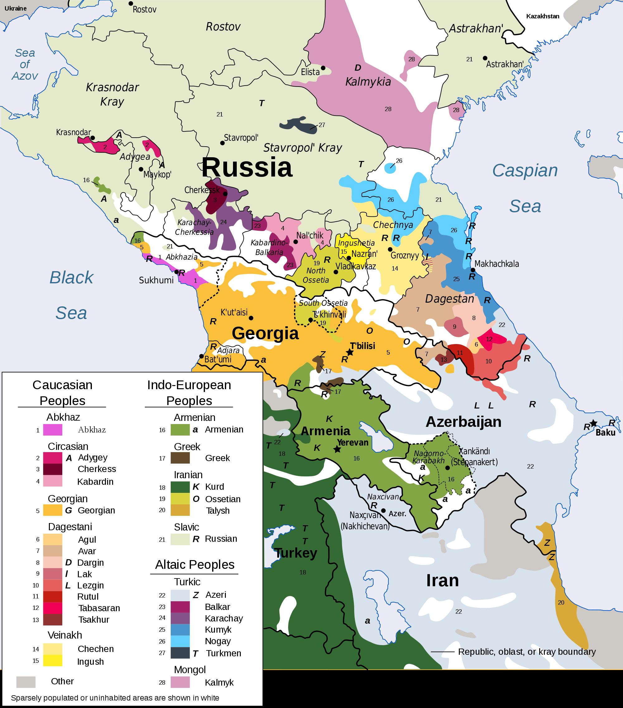 Ausschnitt der Sprachen im Kaukasus