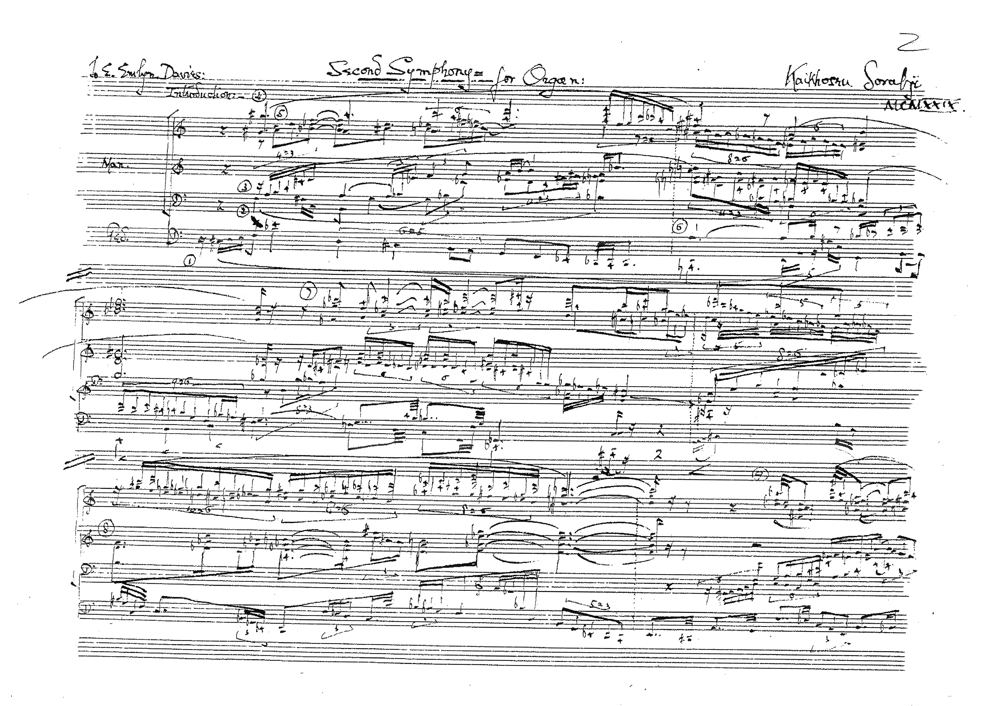 Excerpt from the Manuscript of Sorabji's Organ Symphony No. 2