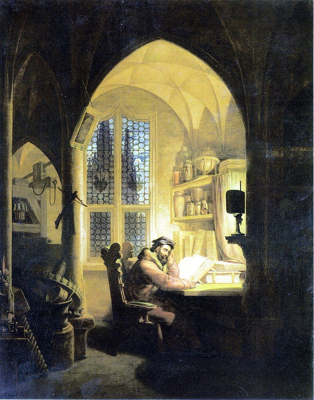 Faust in His Study: Painting by Georg Friedrich Kersting (1829)