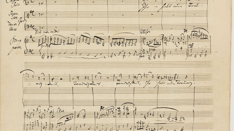Excerpt from Brahm's manuscript (5th movement: Ihr habt nun Traurigkeit)