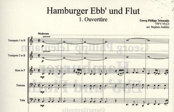 Partitur von Telemanns »Hamburger Ebb' und Fluth«
