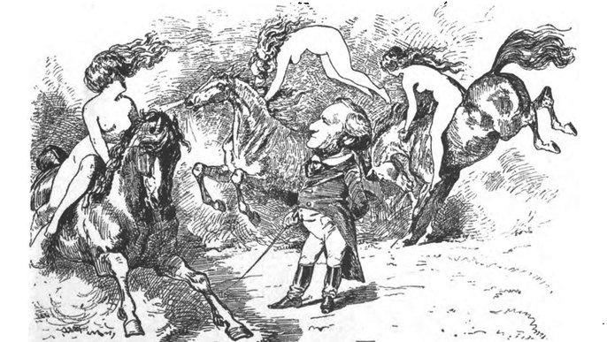 Richard Wagner, Der Walkürenritt (Karikatur)