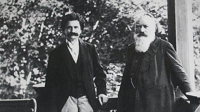 Johannes Brahms & Johann Strauß (Sohn) in Bad Ischl (1894, Rudolf Krziwanek)