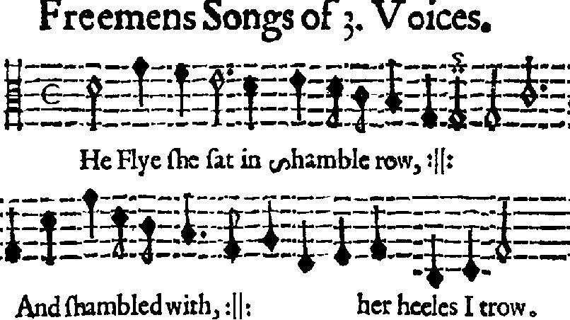 Ausschnitt aus dem Druck eines Liedes von Thomas Ravenscroft mit beweglichen Lettern von 1609