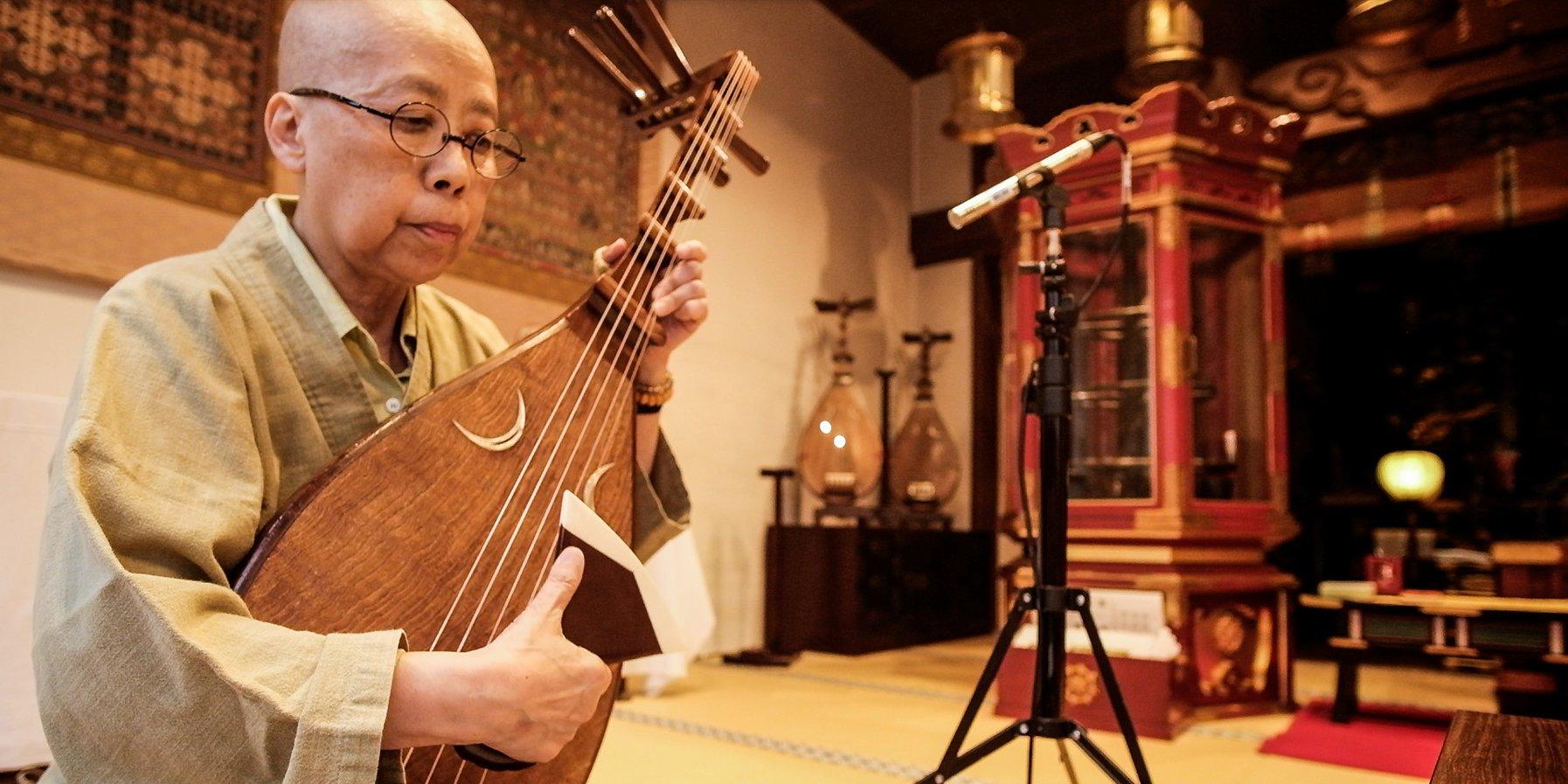 Die buddhistische Nonne und Lautenpriesterin Kyokuyo Okada (21. Oktober 2019)
