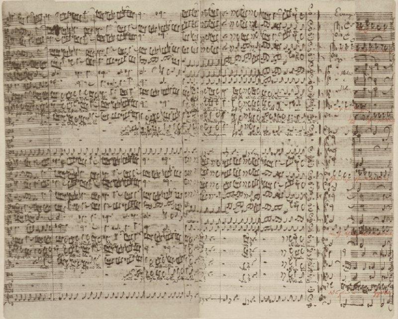 Bach's manuscript of the end of the first chorus »Kommt ihr Töchter, helft mir klagen«