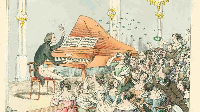 Heart-throb Liszt / caricature from 1842