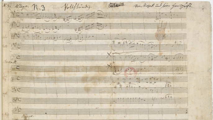 Mozarts Klavierkonzert KV 488: Titelseite des Autographs