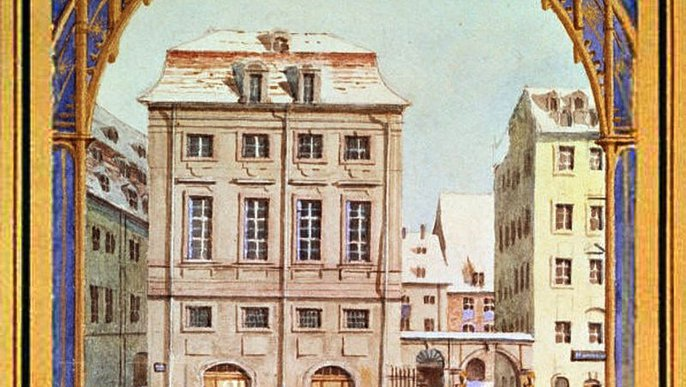 First Gewandhaus, watercolor by Felix Mendelssohn Bartholdy