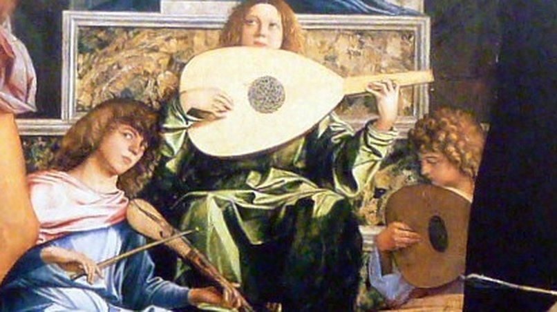 Lauten und Rebec, (Bellini: Pala di San Giobbe, 1487)