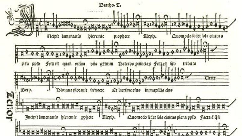 Printed sheet music by Ottaviano Petrucci