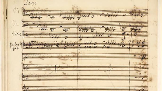 handgeschriebenes Notenblatt, Händel: Israel in Egypt (Autograph), Stelle »He sent a thick darkness«