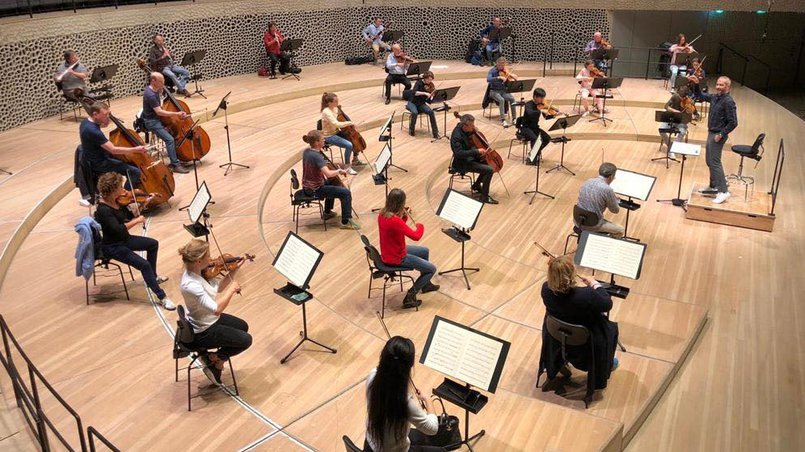 Rehearsal of the NDR Elbphilharmonie Orchester for this concert