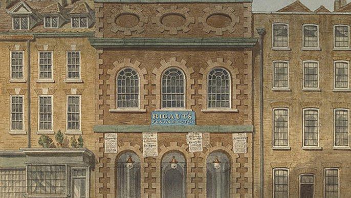 Das King's Theatre  am Haymarket. Gemälde von William Capon, 1783. Mehrere stuckbesetzte Häuserfassaden nebeneinander. Titel: The Old Opera House