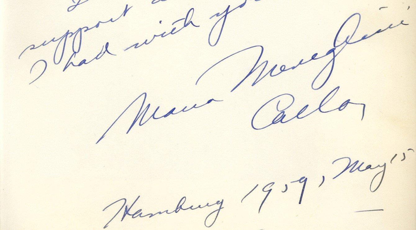 Gästebucheintrag Maria Callas