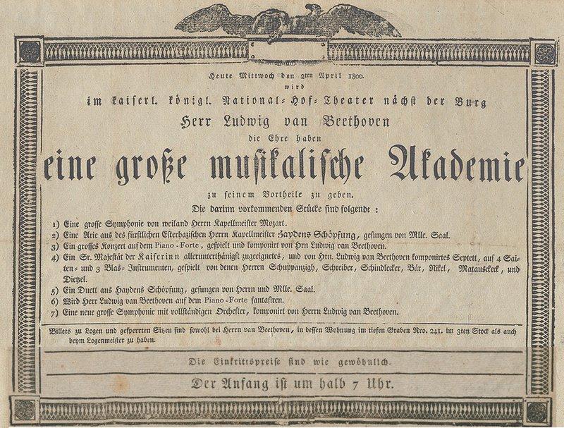 Plakat Beethoven-Akademie 1800