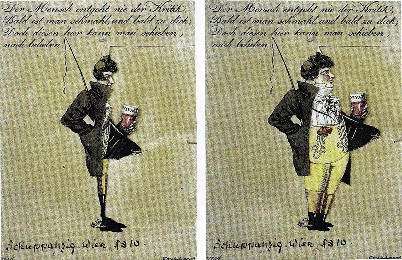 Bewegliche Karikatur des Geigers Ignaz Schuppanzigh