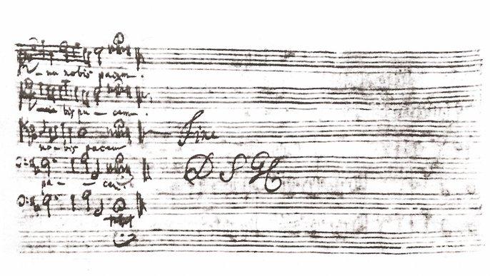 Bachs Signum »Fine. DSGL« (Deo Soli Gloria, Gott allein zur Ehre) am Ende der h-Moll-Messe