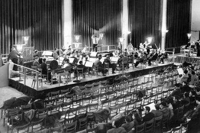 Probe für die Uraufführung von Stockhausens »Gruppen«, Köln-Deutz 1958