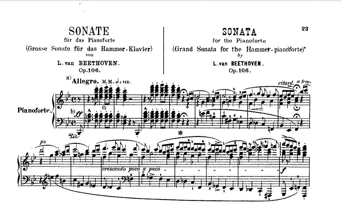 Notenausgabe der Hammerklavier-Sonate